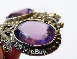 Pendentif ARGENT massif et améthystes + marcassite bijou ancien 19e siècle