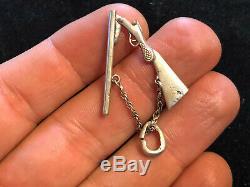 Pendentif Ancien Petit Fusil Miniature Argent Massif Articulé Antique Bijoux