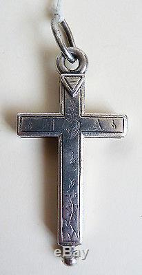 Pendentif Croix relique ARGENT massif 19e ancien reliquaire cross reliquary