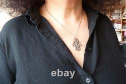 Pendentif Khamsa main de Fatma OR massif et argent + diamant ancien gold jewel