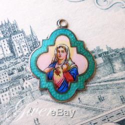Pendentif ancien Argent Massif Emaillé Vierge Marie Vermeil Charm Médaille