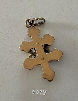 Pendentif ancien Croix De Lorraine Or 18 Carats