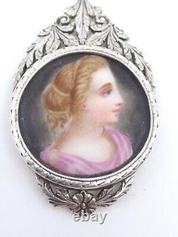 Pendentif ancien en argent massif peinture miniature sur porcelaine Empire XIXe
