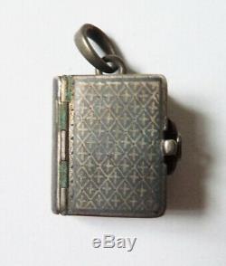 Pendentif argent massif bijou ancien en forme de livre album porte-photo silver