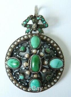 Pendentif argent massif + turquoises + perles bijou ancien porte-photo silver