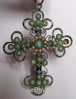 Pendentif croix ancienne en argent massif émaillé perles de nacre et turquoise