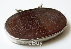 Pendentif en ARGENT massif + cornaline gravée intaille Ancien arabe Coran