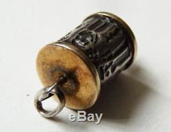 Pendentif en OR et ARGENT massif bijou ancien rouleau sceau cachet intaille