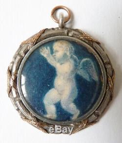 Pendentif médaillon en argent + OR + miniature Ange bijou ancien 18e siècle