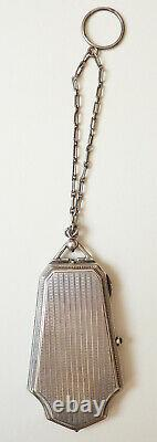 Poudrier minaudière argent massif silver powder box Ancien vers 1920 105gr
