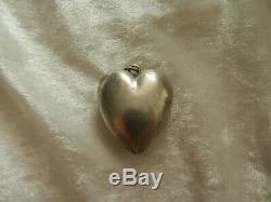 RARE ancien EX VOTO pendentif reliquaire Coeur de Marie argent massif