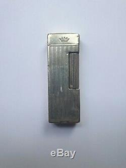 Rare Ancien Briquet A Essence Dunhill Argent Massif Petrol Silver Lighter