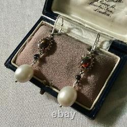 Rare Anciennes Boucles Doreilles En Opale Noir, Saphir Orange, Perle, Argent