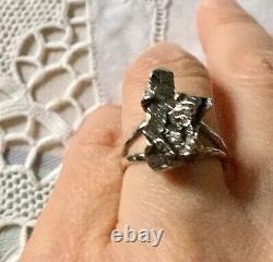 Rare Createur Ancienne Bague Veritable Meteorite, Argent Massif, A Voir