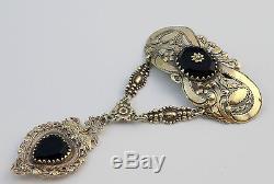 Rare ancien bijou regional en argent massif vermeil et onyx pendentif coeur
