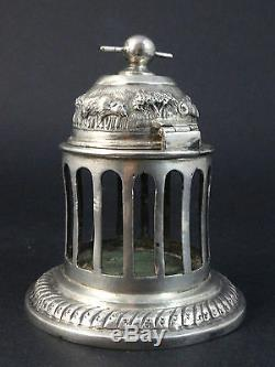 Rare ancien encrier cage en argent massif décor animalier XIXeme