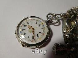 Rare châtelaine de montre ancienne avec montre et breloques argent massif