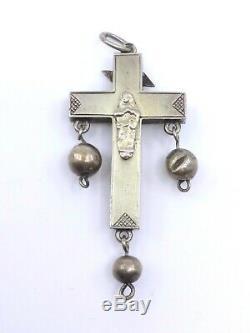 Rare croix régionale ancienne de Bourg en Batz en argent massif Bretagne XIXeme