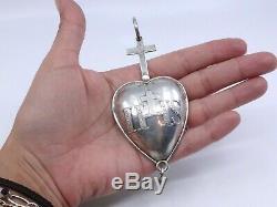 Rare reliquaire pendentif Sacré coeur en argent massif ancien XIXème