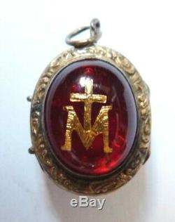Reliquaire ancien ARGENT 19e siècle silver reliquary Vierge Sainte Croix
