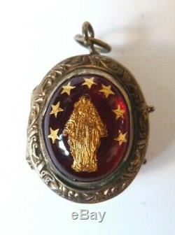 Reliquaire pendentif ancien ARGENT 19e siècle reliquary Vierge Sainte Croix