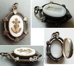 Reliquaire pendentif ancien ARGENT 19e siècle reliquary coeur les trois vertus