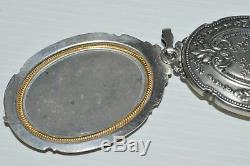 SUPERBE PETIT MIROIR PENDENTIF D'ELEGANTE NAPOLEON III ARGENT XIXe bijou ancien