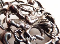 Saint Georges et le Dragon pendentif en argent massif bijou ancien silver cross