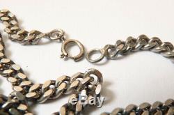 Sautoir Chaine COLLIER ARGENT massif bijou ancien silver chain necklace 34 gr