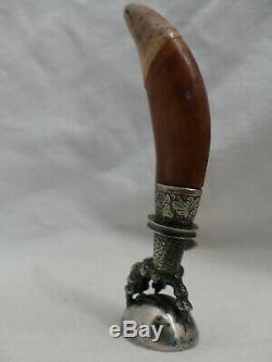 Sceau cachet ancien patte d'aigle dent tigre asie chine argent massif ou bronze