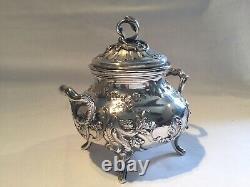 Service à thé ou café ancien en argent massif, trois pièces, poinçon minerve