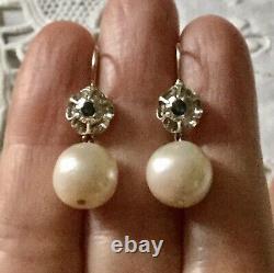 Splendides Anciennes Boucles Doreilles Saphir Enorme Perle Or Et Argent Massif