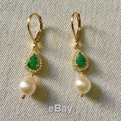 Splendides Anciennes Longues Boucles Doreilles Vermeil Émeraude Perle Baroque