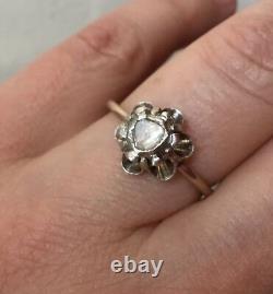 Sublime Ancienne Bague Gros Diamant En Rose, Or, Argent, À Voir