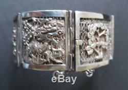 Sublime bracelet ancien argent massif motifs asiatiques époque XIXème