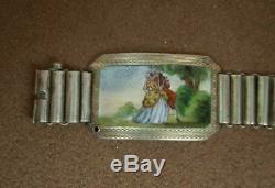 Superb Bracelet Ancien En Argent Massif Et Quatre Medaillons En Email Romantique