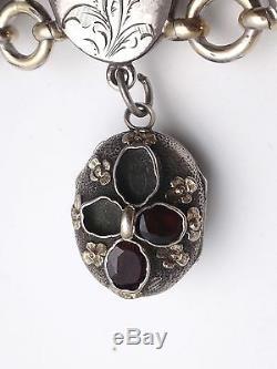 Superbe ancien bracelet argent massif vermeil grenats avec breloque porte photo