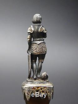 Superbe ancien cachet sceau en argent massif et agate Charlemagne XIXeme