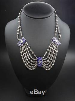 Superbe ancien collier d'esclavage en argent massif et email bleu XIXeme