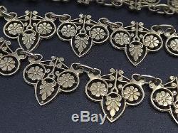 Superbe ancien collier en argent massif vermeil croix de malte style Empire XIXe