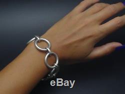 Superbe ancien vintage bracelet gourmette en argent massif années 70