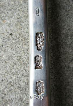 Superbe ancienne cuillère à ragout argent massif XVIIIe Grenoble armoiries 1757