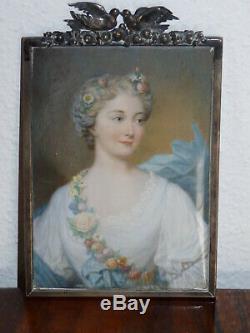 Superbe ancienne grande miniature portrait de femme peint 19ème Argent massif
