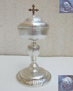 Superbe ciboire ancien XVIIIeme argent massif et bronze