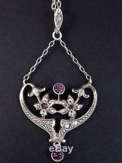 Superbe pendentif ancien en argent massif fleur Art Nouveau