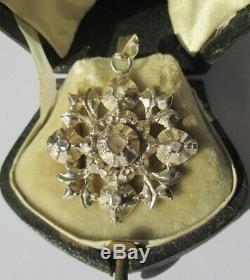 Superbe pendentif ancien régional Savoie XIX Diamants Argent massif 7,7g 4cm