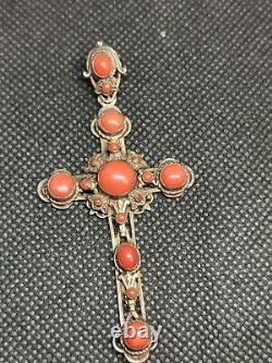 Tres Ancienne Croix En Argent Massif Et corail Ref B796