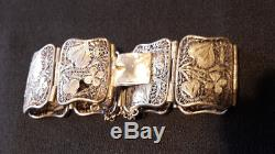 Très beau bracelet ancien argent massif, décor fleuri art nouveau, époque 1900