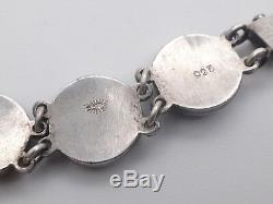 Très beau bracelet ancien en argent massif et grenats