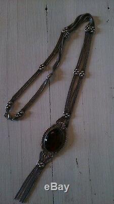 Très beau collier sautoir ancien argent massif
